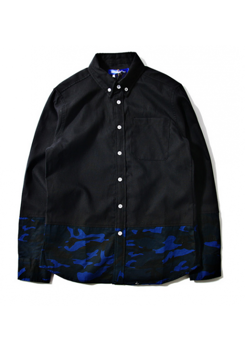 Junya Watanabe Camo Panel Button Up Shirt (Black)