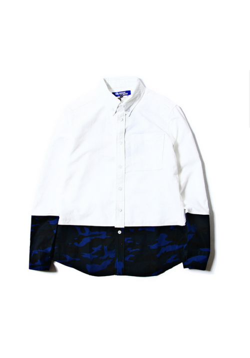 Junya Watanabe Camo Panel Button Up Shirt (White)