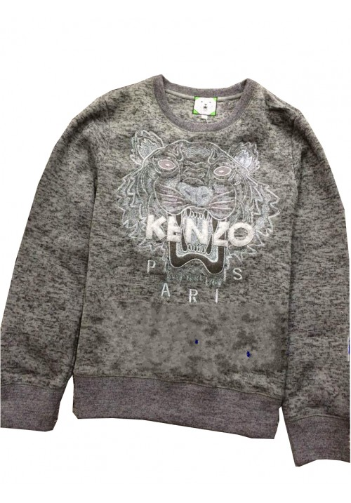 "Kenzo ""Knit Tiger Head Embroidery"" Sweater (Gray)"