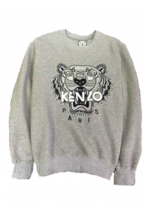 "Kenzo ""Tiger Head Letters Embroidery"" Sweater (Gray)"