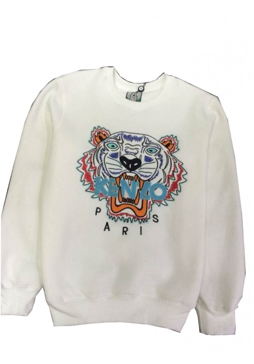 "Kenzo ""Tiger Head Letters Embroidery"" Sweater (White)"