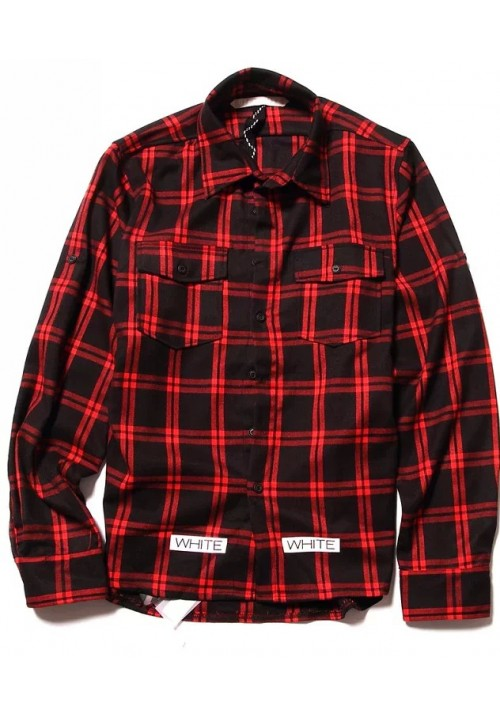"Off White ""Checkered"" Long Sleeves (Red Wine)"