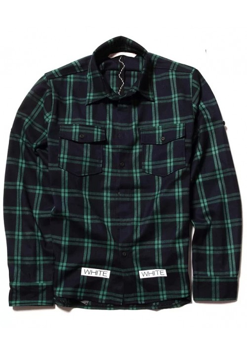 "Off White ""Green Checkered"" Long Sleeves (Blue)"