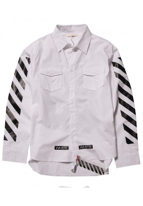 "Off White ""White Twill Printed"" Long Sleeves (White)"