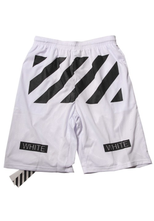 "Off White ""Black Twill Printed"" Beach Shorts (White)"