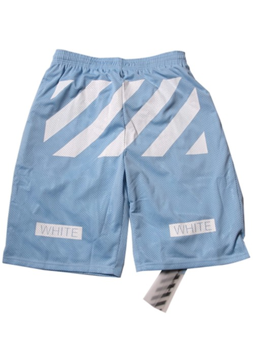 "Off White ""White Twill Printed"" Beach Shorts (Azure)"