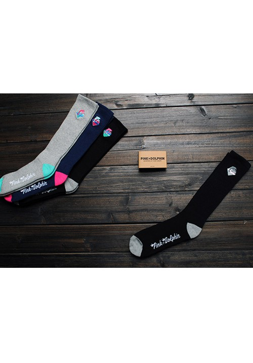 Pink Dolphin Waves Socks (Black)
