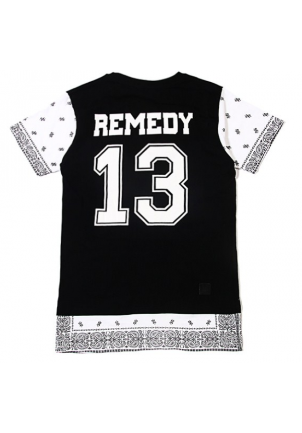 Remedy Paisley Sleeve T Shirt Black