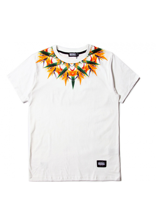 Remedy Tropical Floral Neck T-Shirt (White)