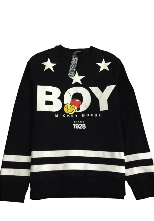 "Stay Real ""Mickey Mouse And Letters Printed"" Sweater (Black)"
