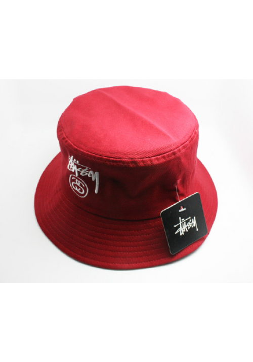 Stussy Classic Logo Bucket Hat (Red)