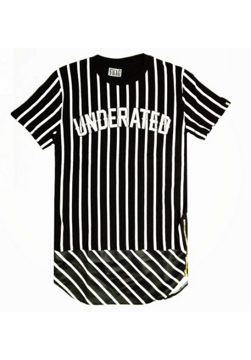 Swag Underated Stripes Long T-Shirt (Black)